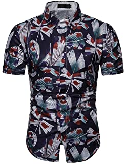 KLJR Men Slim Classic Business Stripe Print Casual Button Down Blouse Shirt Tops