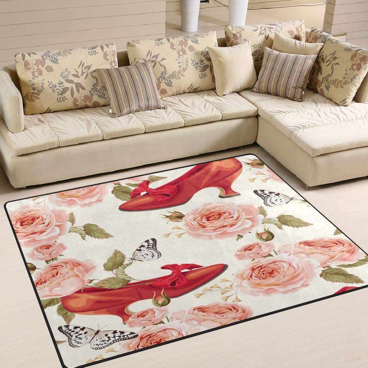 ALAZA Vintage Red Shoes Butterfly Flower Area Rug Rugs for Living Room Bedroom 7 x 5