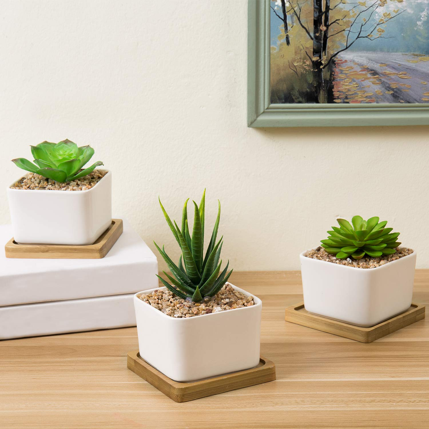 MyGift Artificial Succulent Plants in Square Ceramic Planters with Bamboo Trays, Set of 3