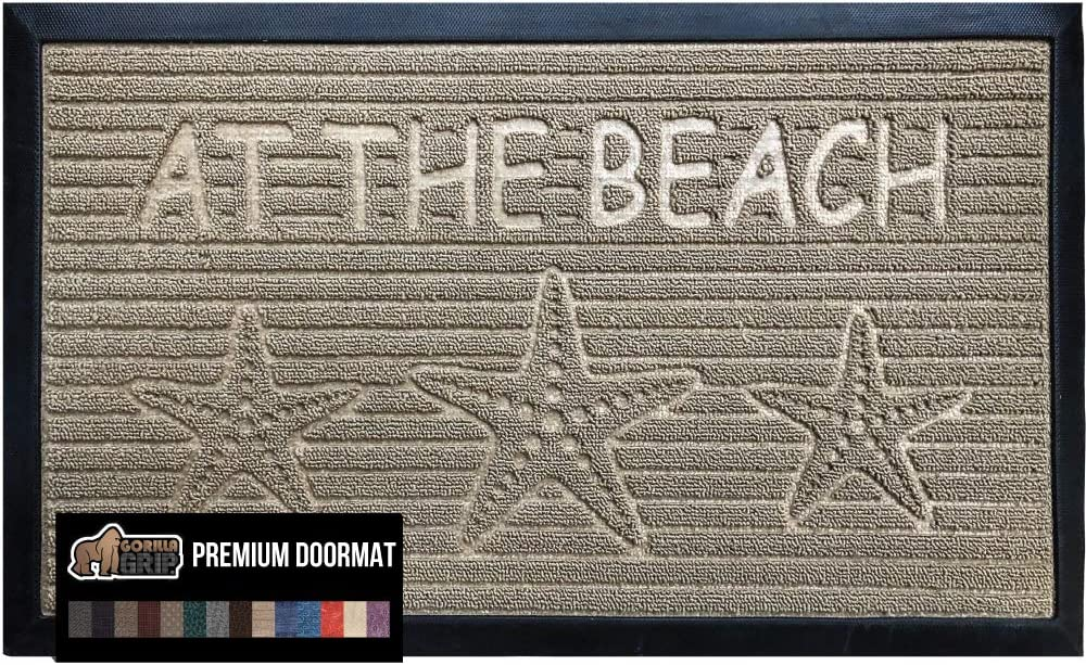 Gorilla Grip Original Durable Natural Rubber Door Mat, Heavy Duty Doormat for Indoor Outdoor, 23x35, Waterproof Easy Clean, Low-Profile Mats for Entry Garage Patio High Traffic Areas, Beige Beach Sand