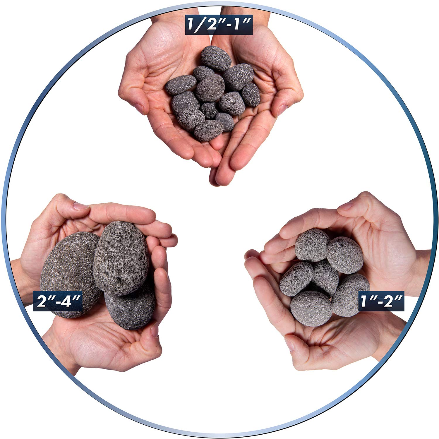 Hand-Picked Stones 10 Pounds 2 Inch Fire Rock Black 1 Inch Natural Fireproof and Heatproof Round Pebbles for Indoor or Outdoor Gas Fire Pits and Fireplaces