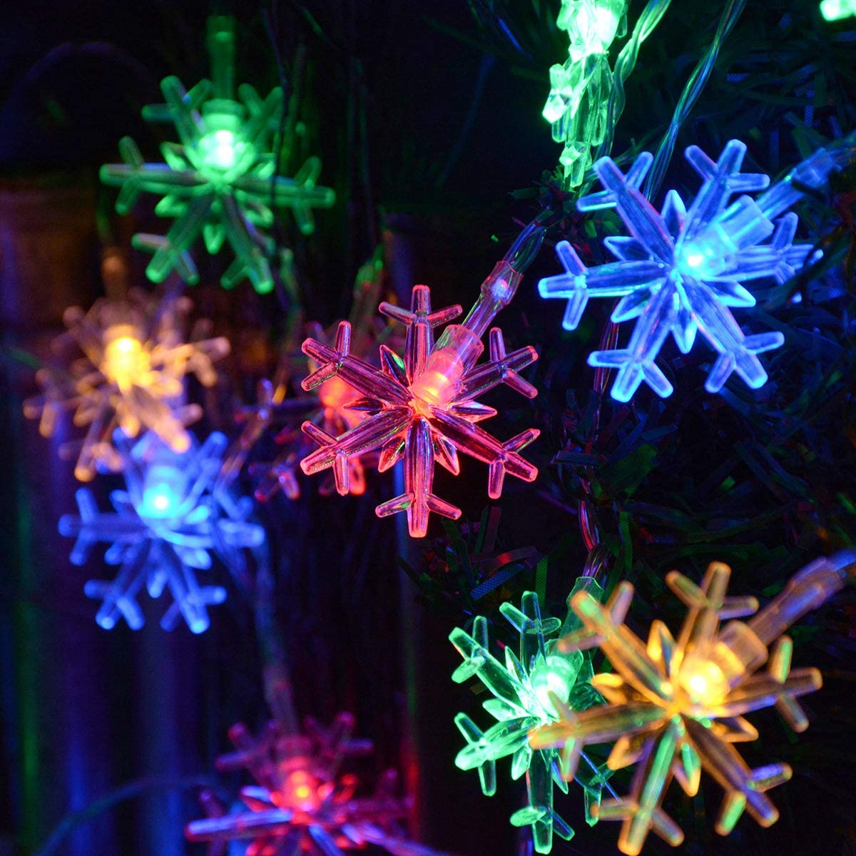 2M 10Lights Christmas Snowflake Lights String Battery Operated Xmas Decoration T