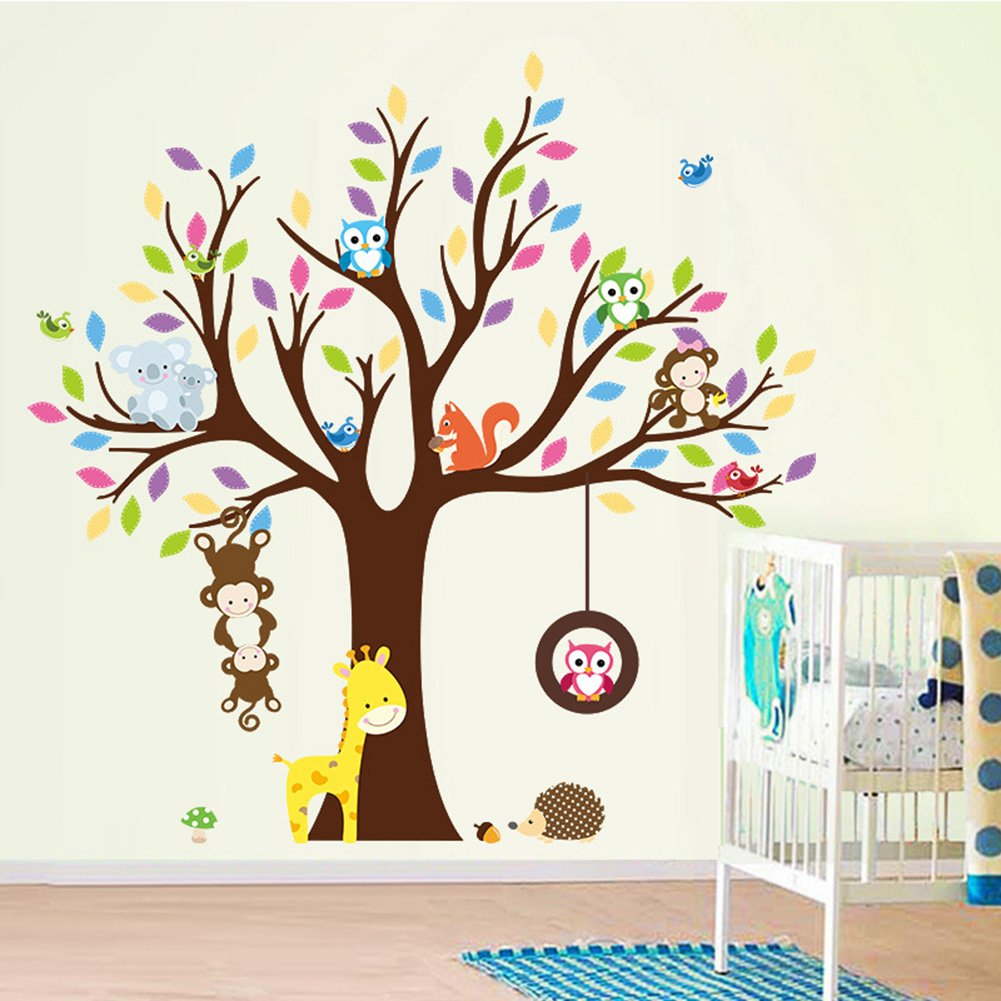 Cartoon Monkey Owls Tree Jungle Animals Theme Wall Art Decals Sticker Murals Decoration for Living Room Nursery Baby Girl Boy Kid Children's Room Bedroom Decor (A) Keersi