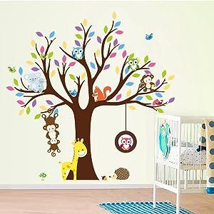 Cartoon Monkey Owls Tree Jungle Animal Theme Wall Art Decal Sticker Mural Decoration for Living Room Nursery Baby Girl Boy Kids Children's Room Bedroom Decor