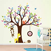 Cartoon Monkey Owls Tree Jungle Animals Theme Wall Art Decals Sticker Murals Decoration for Living Room Nursery Baby Girl Boy Kid Children's Room Bedroom Decor (A)