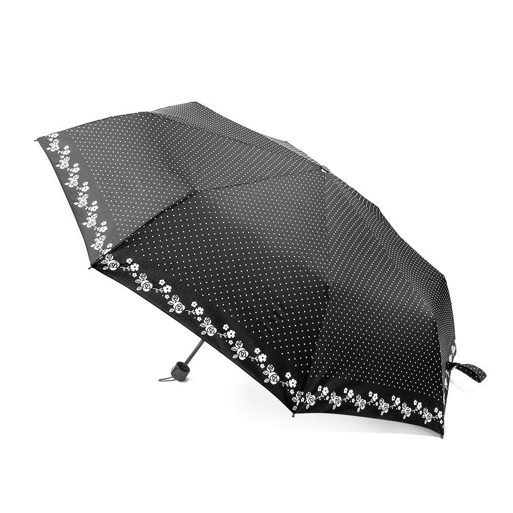 boy ® Small Umbrella Compact Lightweight Only 6.77 Ounces, Fast Drying Folding Travel Umbrella, Stylish Polka Dot Design Perfect for Girls Women Ladies, 100% Satisfaction Guarantee, Black Dot BL3007-001-UK