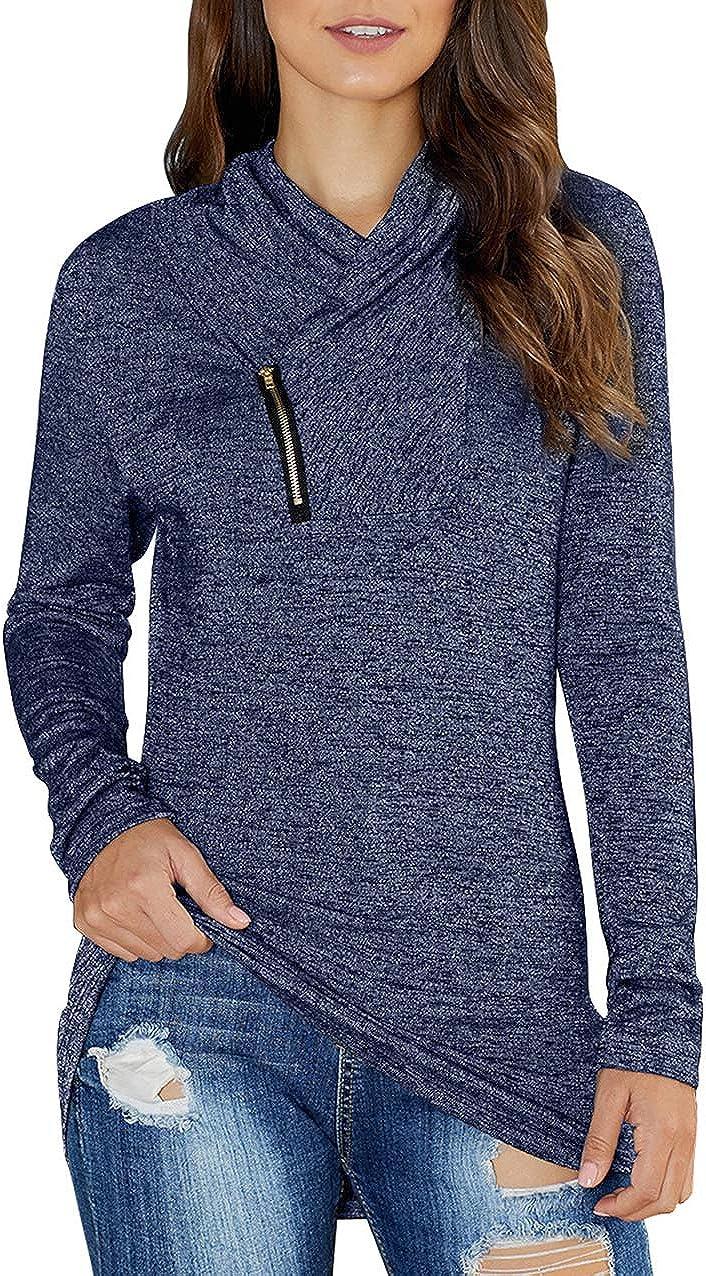 KIRUNDO 2020 Winter Women's Long Sleeve Pullover Zipper Cowl Neck Tops Tie Dye Sporty Sweatshirts(9 Colors,S-XXL)