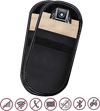 Paquete de 2 bolsas para bloqueo de señal de llave de coche para prevención de robo de coche sin llave y protección de teléfono celular seguridad y ...