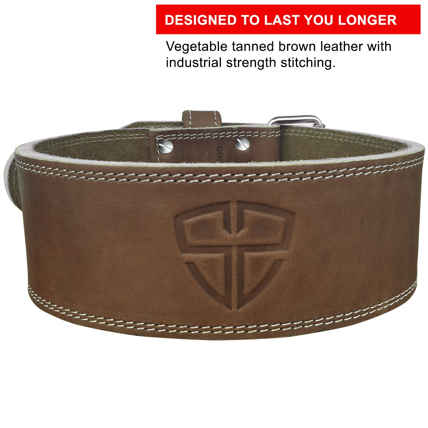 Steel Sweat Weight Lifting Belt - 4 Inches Wide by 10mm - Single Prong Powerlifting Belt That's Heavy Duty - Vegetable Tanned Leather - Hyde XXL by Steel Sweat (Image #2)