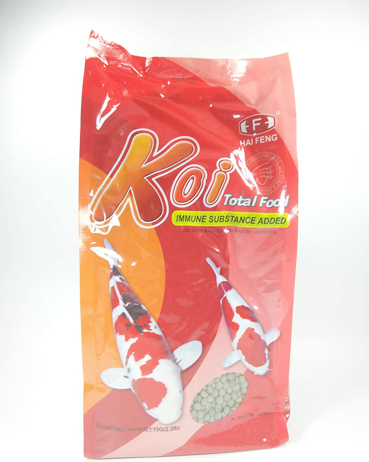 Hai Feng Koi Fish Total Food Floating N.W. 1kg(2.2lb), Large Pellet, ISO 22000 & HACCP, ISO 9001 Registered