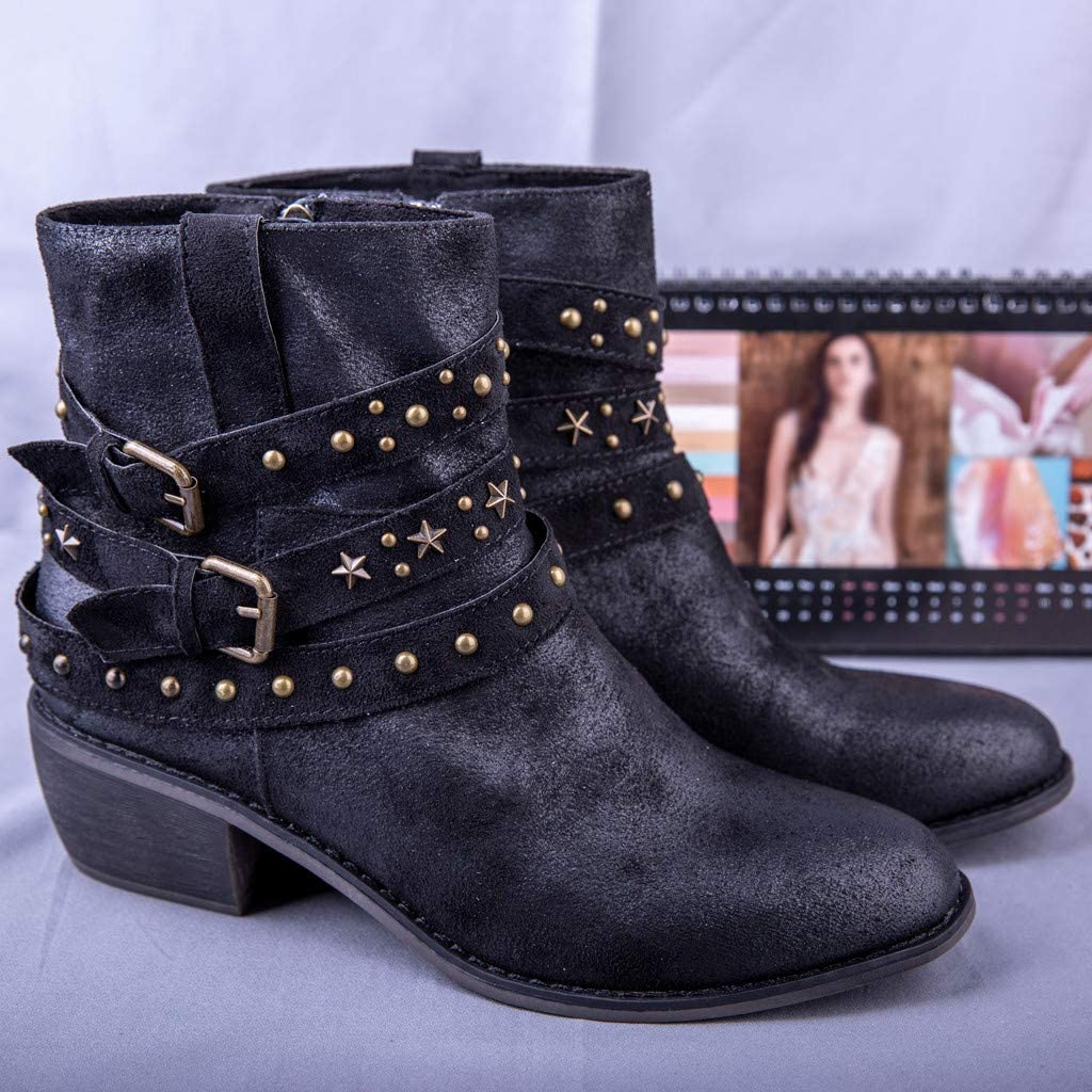 Womens Pointed Toe Ankle Boots Rivets Cross Straps Buckle