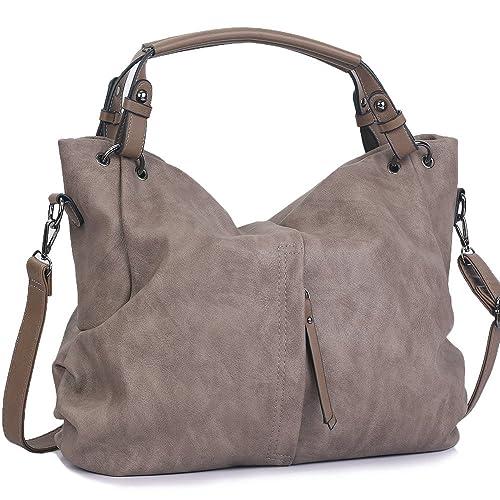 WISHESGEM Handtaschen Damen Taschen Hobo Umhängetaschen Schultertaschen Handtaschen PU Leder Henkeltaschen Modernes 36cm(L)*16cm(W)*30cm(H)