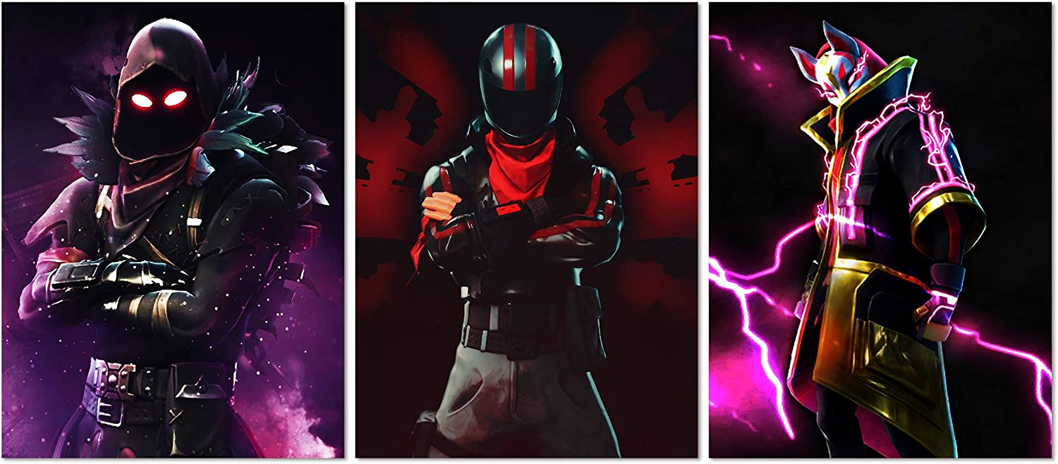 Ting Art 3 Pieces Game Theme Hero Picture Prints on Canvas Framed Wall Art for Living Room Game Club Black Purple 12x16inx3pcs