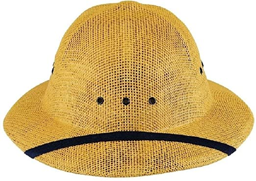 1e6a947ef16bb Image Unavailable. Image not available for. Color  Pith Helmet Vietnam  Style Light Weight Hard Straw Safari ...
