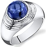 Mens 6.50 Carats Created Sapphire Ring Sterling Silver Rhodium Nickel Finish Sizes 8 to 13