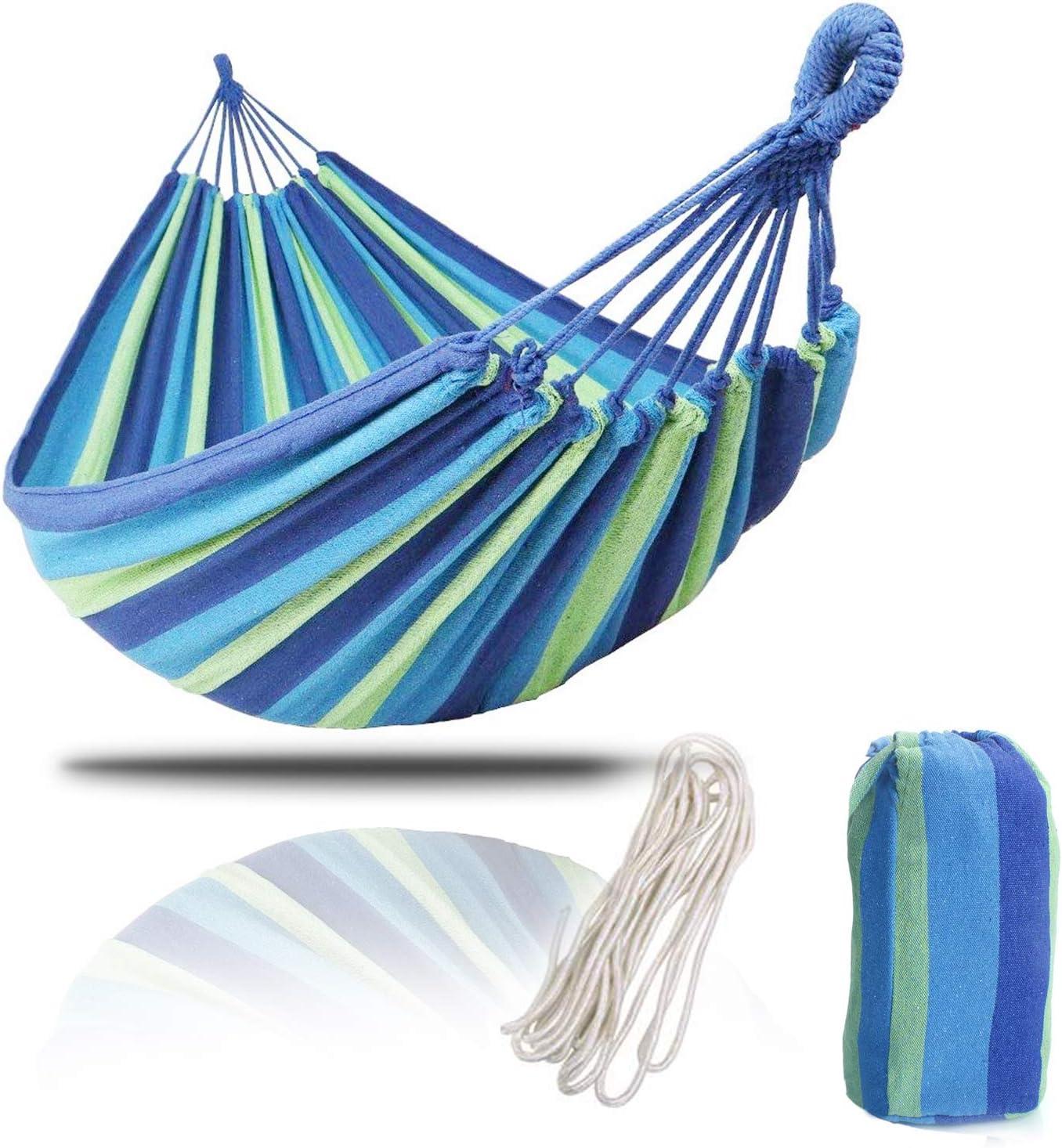 KEPEAK - Hamaca de algodón para Exteriores, 2,8x 1,4m, Capacidad de Carga de hasta 240kg, portátil con Bolsa de Transporte, para excursiones, cámping, jardín, Color Azul