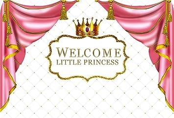 Cortina Rosa con diseño de Princesa Rosa y Fondo para la Ducha de bebé, con Corona Dorada y Fondo Blanco