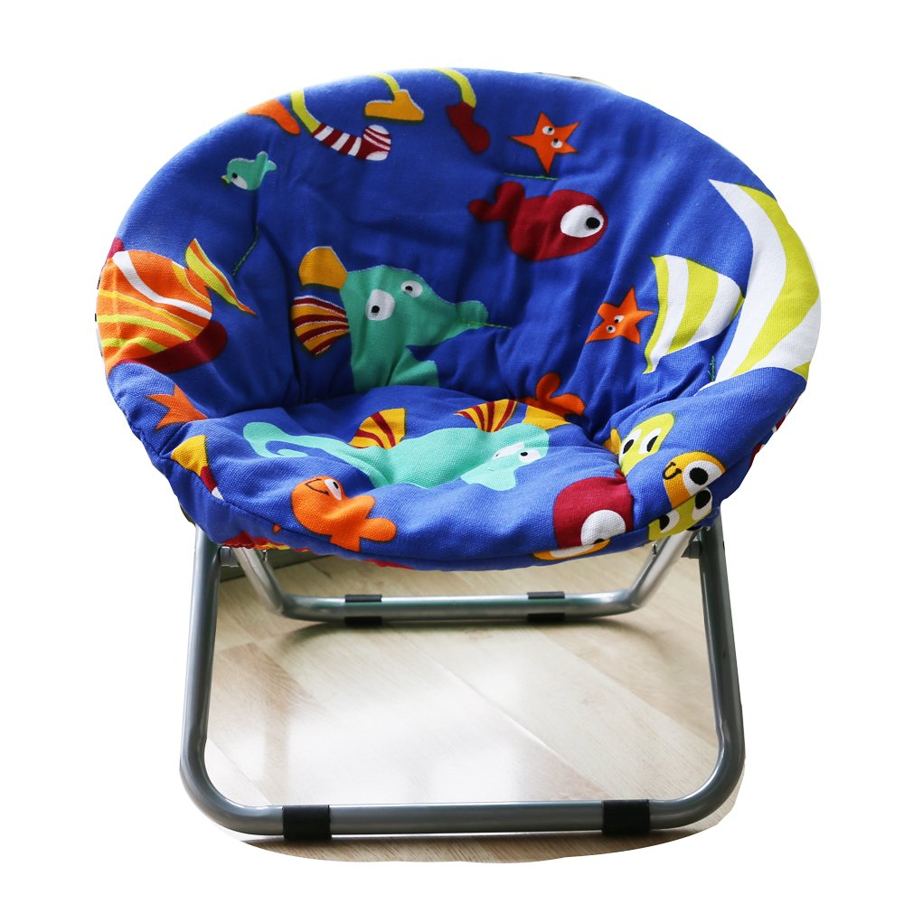 Comfortable Kids Folding Moon Chair for indoor and outdoor cute bottom fish Design chair for children