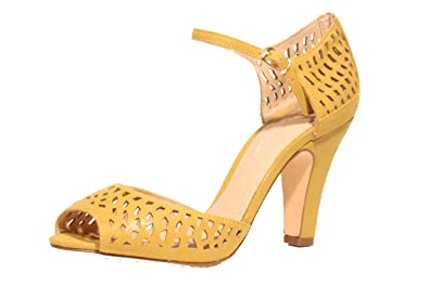 37073eb5a1d Amazon.com | Chelsea Crew Liza Perforated High Heel Sandals-Mustard ...