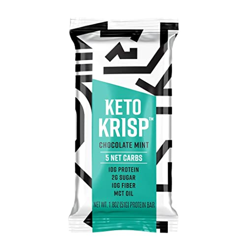 Keto Krisp Protein Snack Bars – Low-Carb, Low-Sugar – Chocolate Mint – Gluten-Free Crispy, Perfectly Delicious, Ketogenic Healthy Diet Snacks and Food