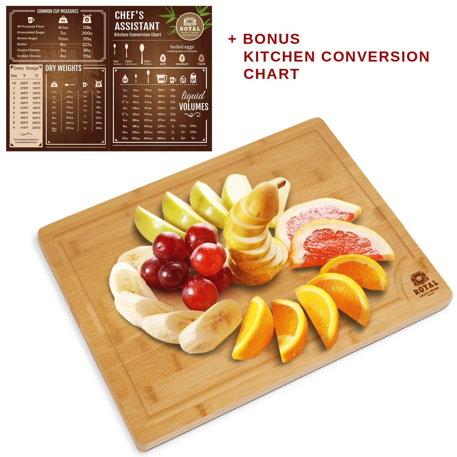 Bamboo Cutting Board w/Juice Groove & Handles - Butcher Block for Chopping Meat & Vegetables - Kitchen Cutting Boards, 10x15 by Royal Craft Wood (Image #5)