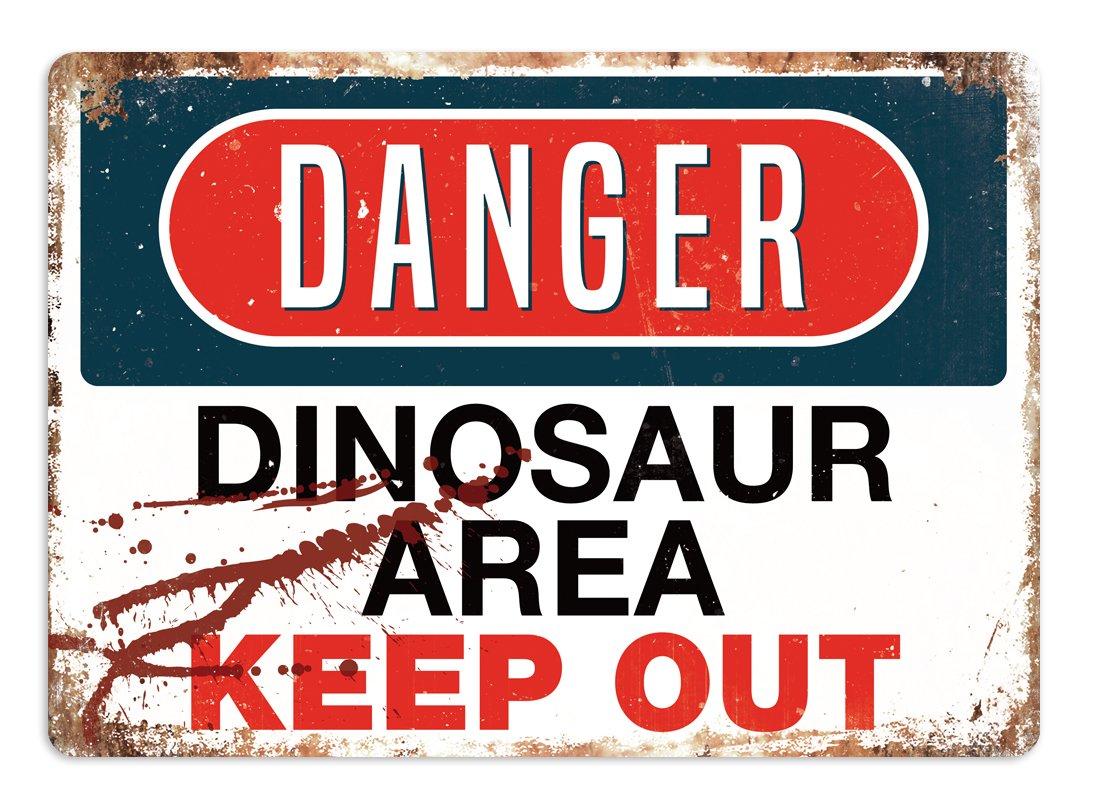//área de Dinosaurio/ Cirrus Peligro/ /Placa met/álica para la Pared con Texto en ingl/és Art Inspirational