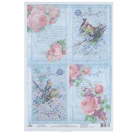 Carta Di Riso Per Decoupage Splendidi Uccelli Con Rose Su Sfondo