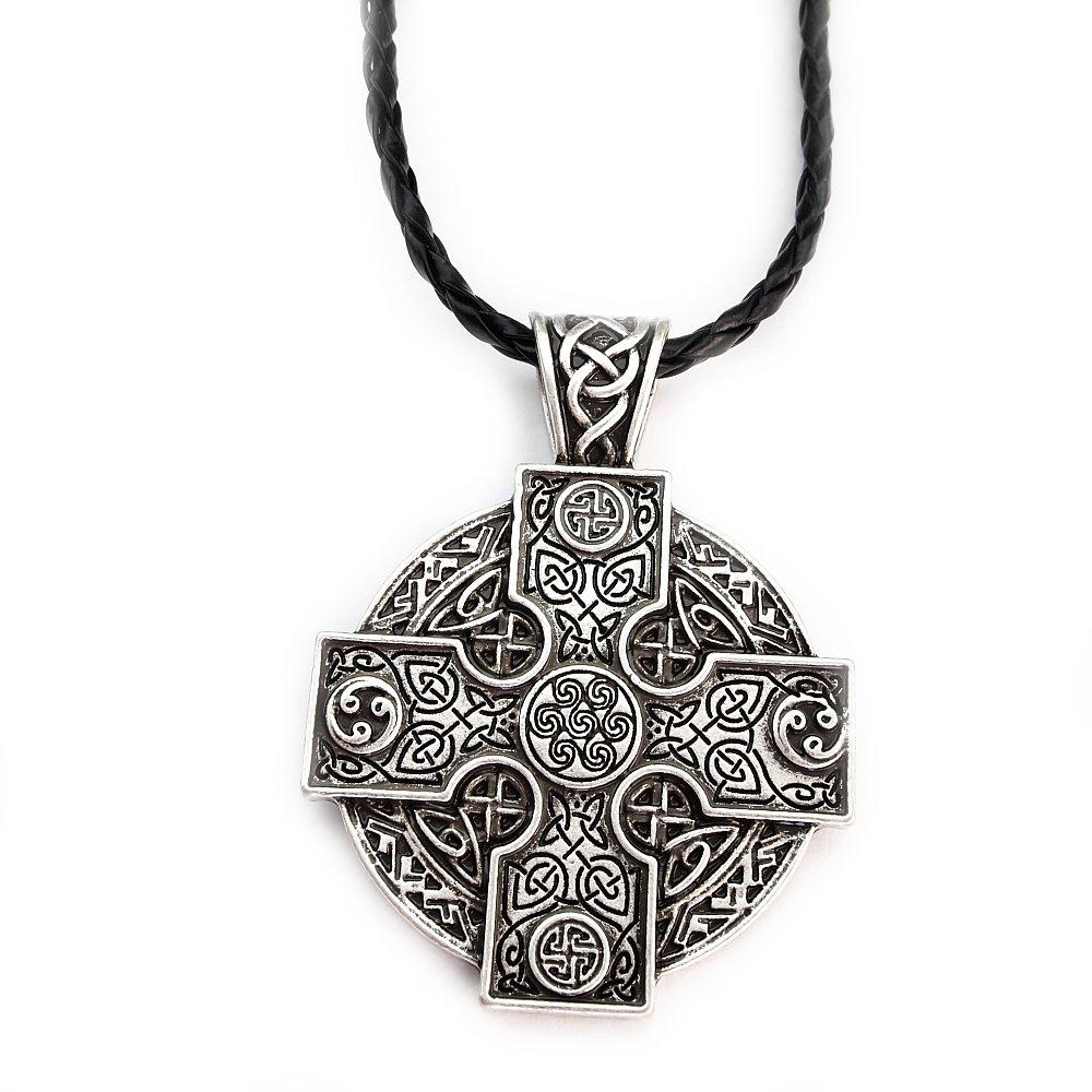 Miss–E–Bijoux TM Argent Antique Solaire Croix Celtics Druide Irlandais Pendentif Collier pour Femme pour Homme Viking Norse Talisman Rune. Miss - E - Jewels nord