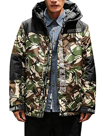 Jotebriyo Men Hoodie Plus Size Printing Thicken Quilted Jacket Coat Outerwear