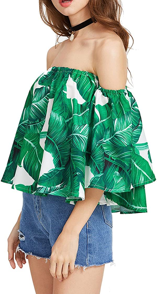 Herose Female Summer Wear Floral Printed Chiffon Blouse Cotton Shirt Cropped Tops