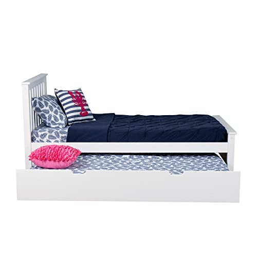 Max Lily Solid Wood Twin-Size Bed with Trundle Bed, White
