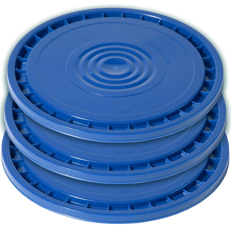 Meranti Reusable Easy Peel 3.5, 5, 6, and 7 Gallon Bucket Lid | Food Grade | 3 Pack (Blue)