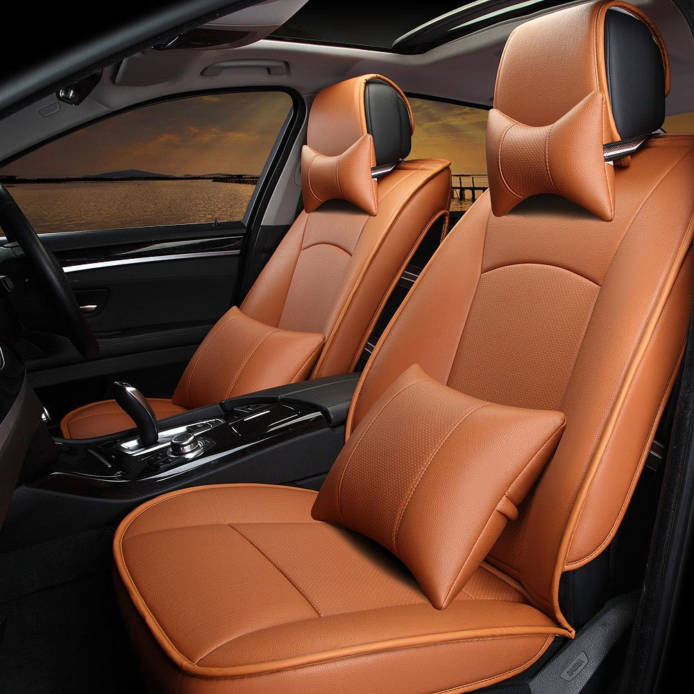PU Leather Car Seat Covers AUTOPDR Car Cushions 5 Seats Full Set Front Rear for 2010-2015 Ford F150 9Pcs (Yellow)