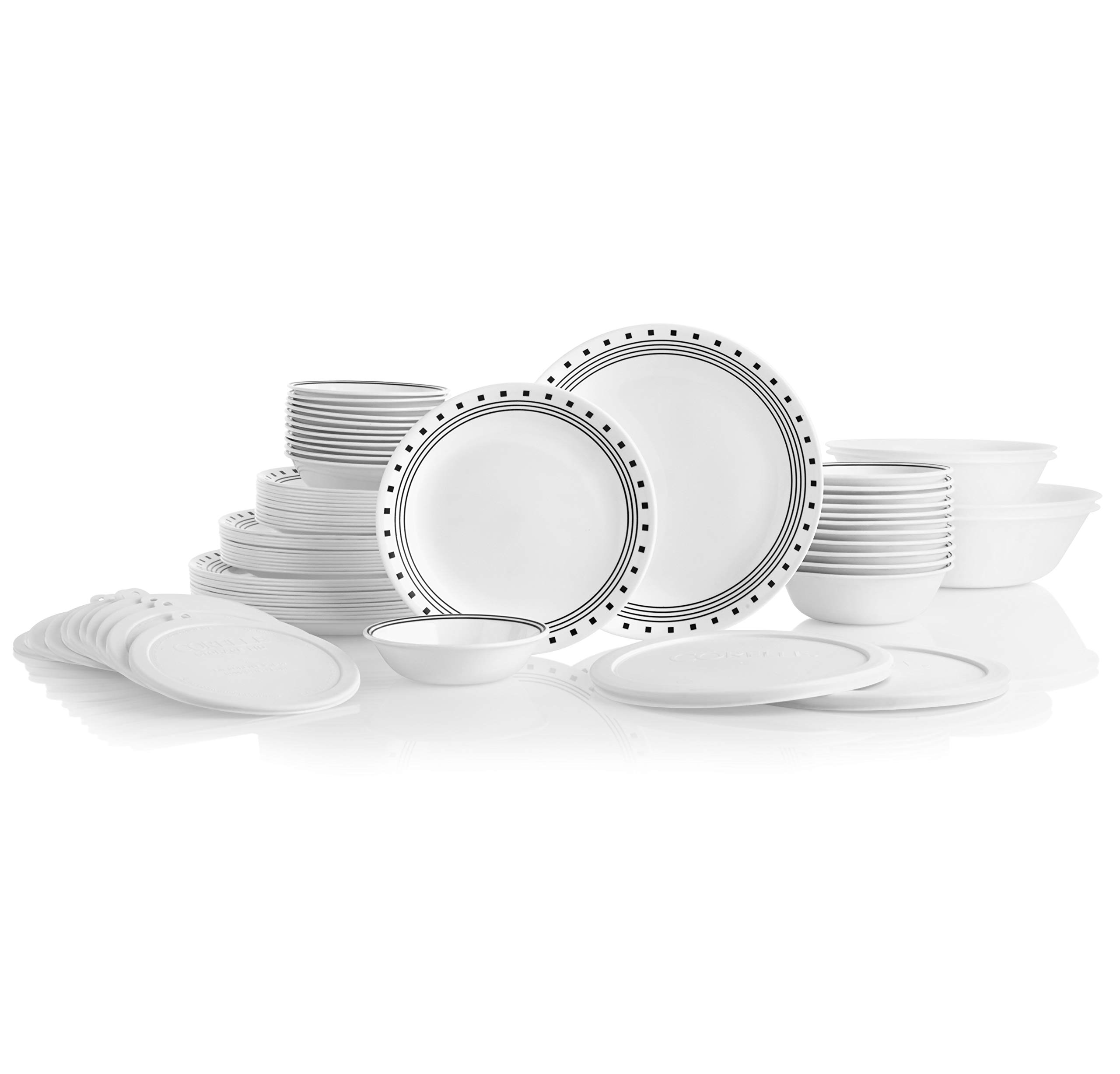 Corelle 78-Piece Service for 12, Chip Resistant, City Block) Dinnerware Set,