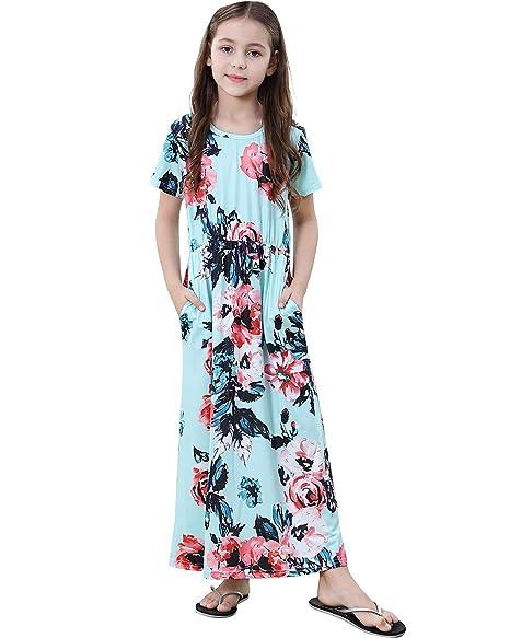 SANMIO Boho Mädchen Kleider Elegant Kurze Ärmel Floral Print Maxi Dress Strandkleider Partykleider Cocktailkleid