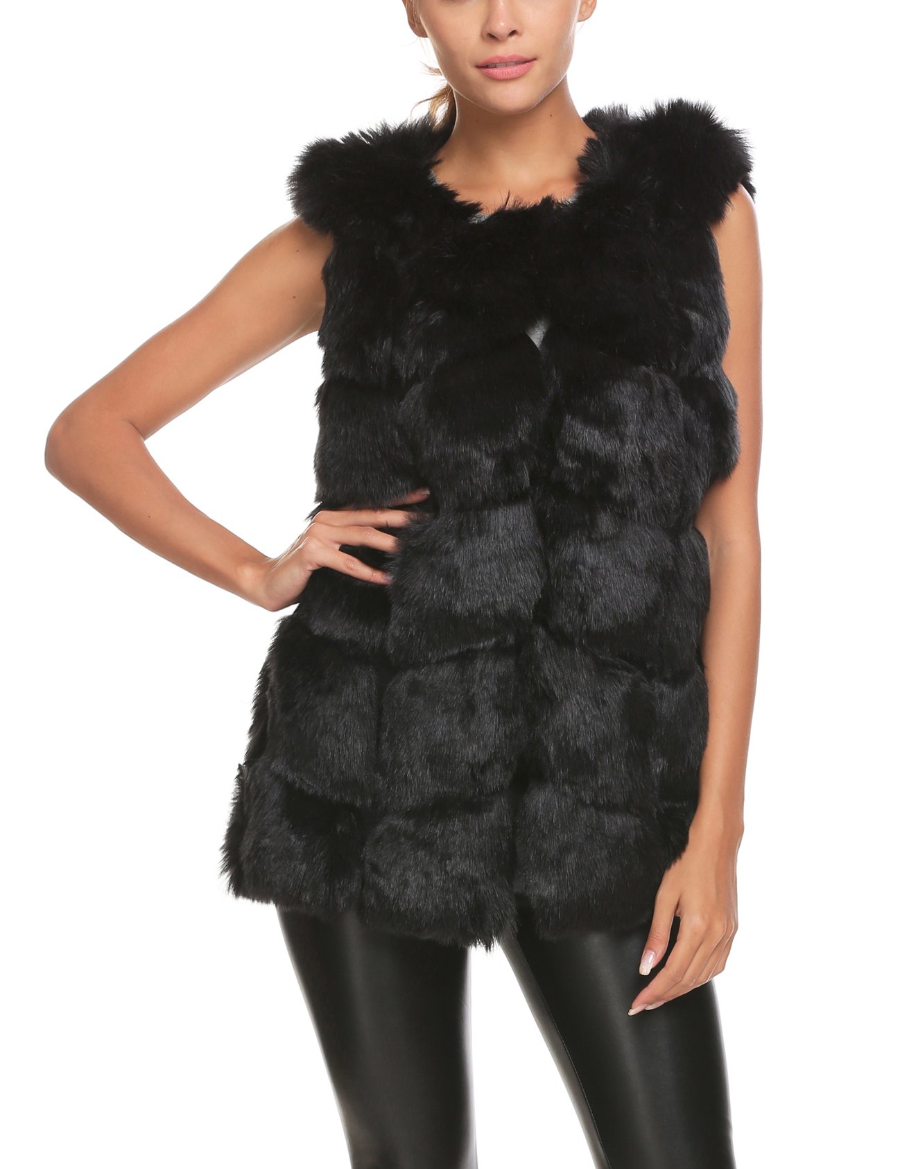 Soteer Women's Plus Size Winter Faux Fur Vest Gilet Sleeve Coat Jacket Ourwear For Winter Black L