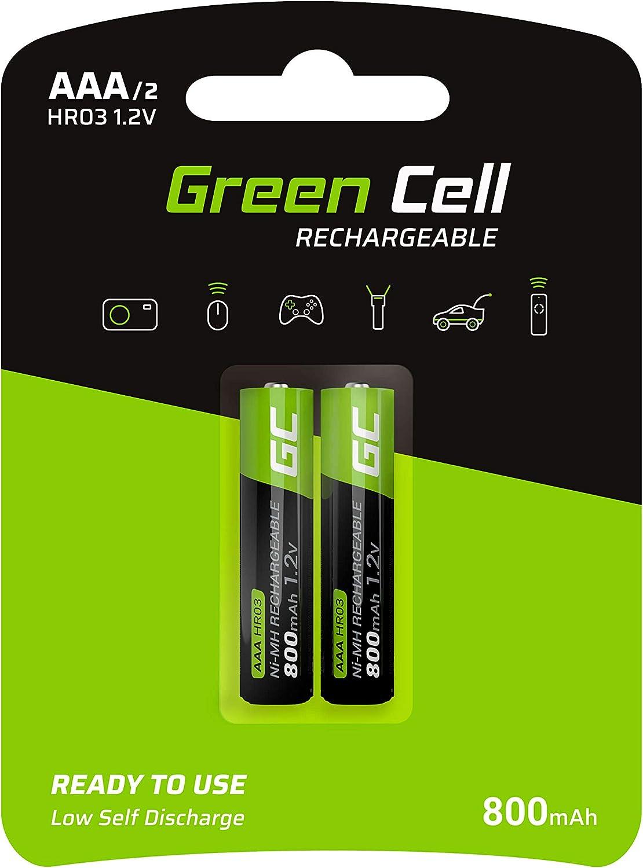 Mignon Batterie Green Cell 2000mAh 1.2V Lot de 4 Piles Rechargeables Ni-MH Type AA Pr/écharg/ée HR6 Pile BK-3MCCE//8BE Faible Auto-d/écharge Haute capacit/é