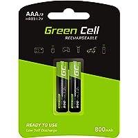 Green Cell 2X AAA 800mAh 1.2V Juego de 2 Pilas Recargables AAA Ni-MH Baja Autodescarga Precarga Alta Capacidad HR6 BK…