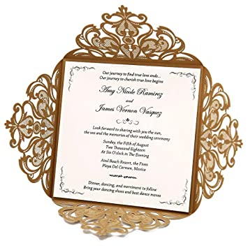 Amazon.com: Wishmade Gold Square Lace Laser Cut Wedding Invitations ...