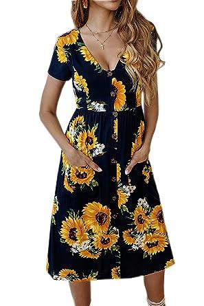 f7fcbee9bc Walant Womens V Neck Summer Dress Short Sleeve Midi Skater Dress with  Pockets (S