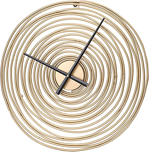 MKUN Round Decorative Wall Clock Tree Rings Theme Modern Wall Clock Gold