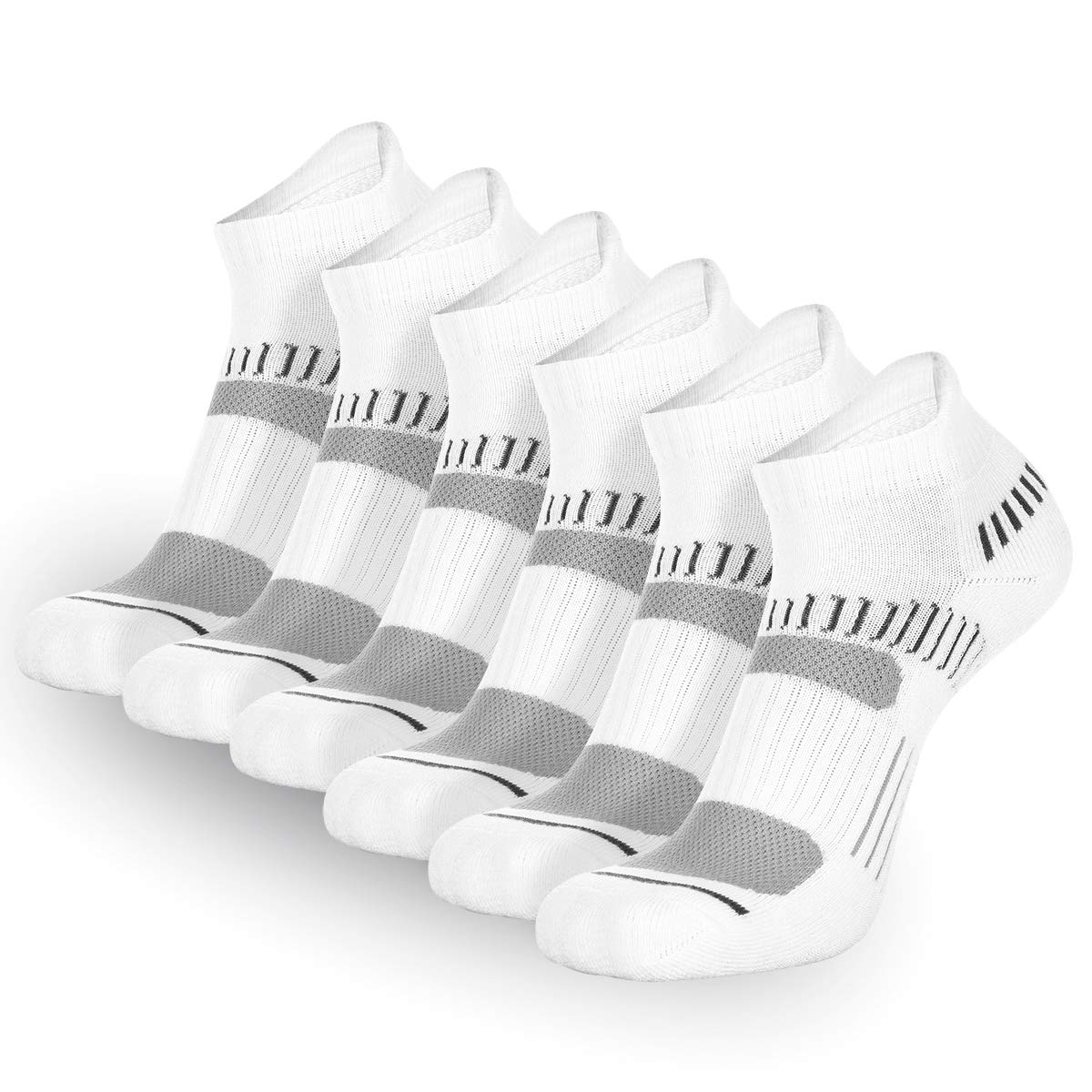 FLYRUN Womens Athletic Ankle Socks Women 6 Pack Performance Cushioned Low Cut Running Tab Socks
