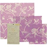 BEES WRAP Wax Cloth Food Wrap Asst Size Clover Print, 3 Count