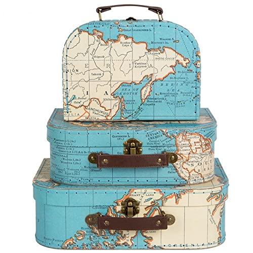 Set of three vintage style world map decorative mini suitcase sass belle set of 3 world map suitcases storage boxes gumiabroncs Image collections