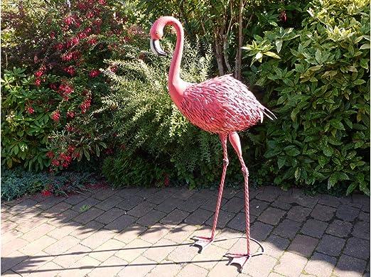 Desconocido Escultura de jardín de Flamenco de Metal Gigante de 151 cm, Dos Estilos Disponibles: Amazon.es: Jardín