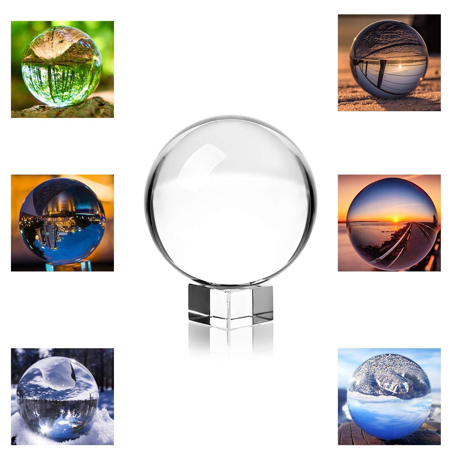 """MerryNine Crystal Ball Clear Crystal Ball with Stand and Pouch, 3-1/5"""" /80mm Art Decor K9 Crystal Prop for Photography Decoration (3-1/5"""" Dia, K9 Clear)"""