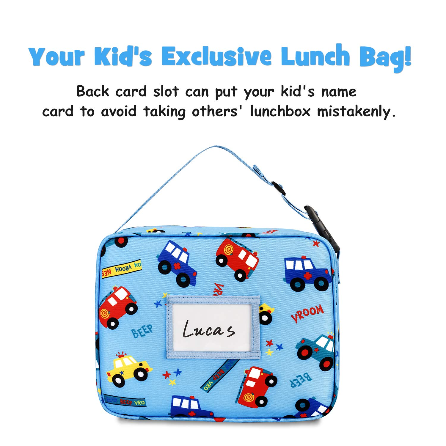 Bagmine Kid Lunch Bag Insulated Moisture Resistant Reusable Child Lunchbox with Multiple Patterns /& Card Slot for Kids Girls Boys /& Adults for School Picnic Travel or Work