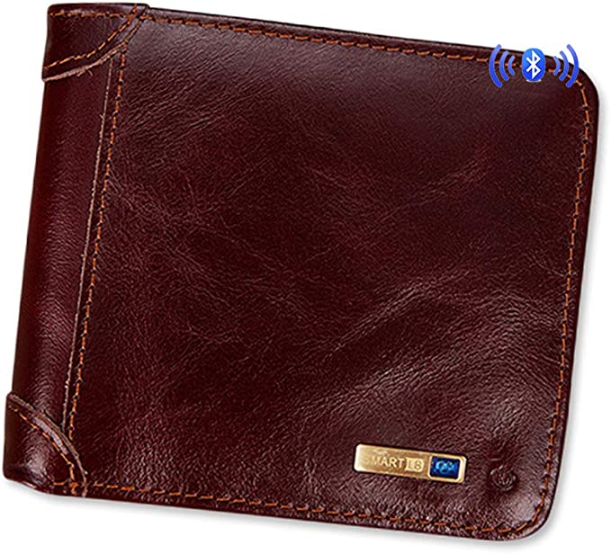 Smart LB Smart Anti-Lost Wallet with Alarm Bluetooth Dark Blue,Horizontal via Phone GPS Bifold Cowhide Leather Purse Position Record