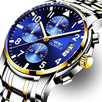 OLMECA Mens Watch Fashion Luxury Wrist Watches for Men Analog Quartz Waterproof Chronograph Stainless Steel Band