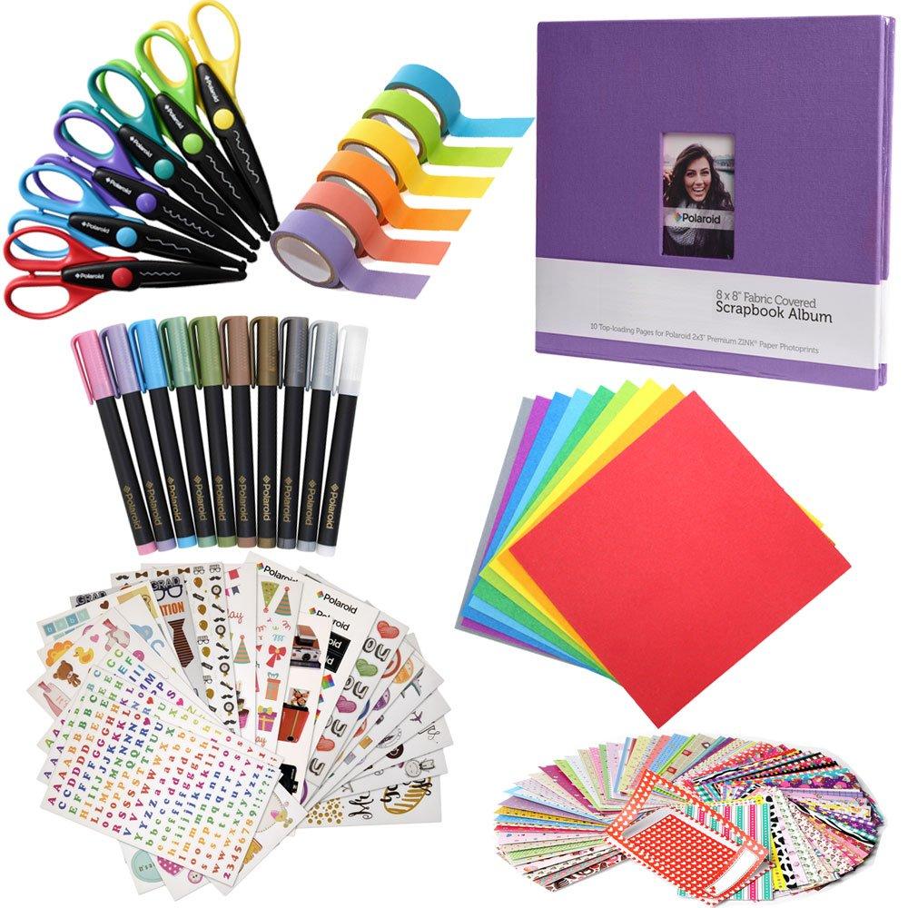 Scrapbook Elite Colorful Bundle - 8x8 Scrapbook + 100 Sticker Frames + 10 Metallic Markers + 6 Scissors + Color Paper + Washi Tape for Fuji Instax Mini 9, 26, 8, 7 Instant Projects